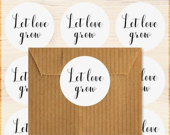 48 stickers Let love grow, wedding, gift tags or stickers, sweets label