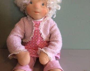 Rose, fiber art doll, handmade doll of sheep's wool and skin tricot.