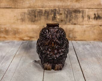 Vintage Wise Old Owl Glass Bank Kids Decor Nursery Room Decor Coin Money Bank