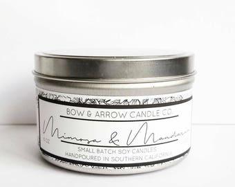 Mimosa & Mandarin Natural Soy Candle 8 oz | Eco-Friendly Candle | Soy Candles | Mimosa Scented Candle | Candles | Citrus Candles | Gift Idea