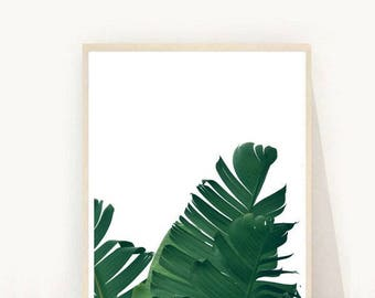 Banana Leaf printable, Banana Leaf Wall Art, Tropical Decor, Botanical Print, Scandinavian Art Print, Printable Art, Instant Download
