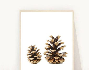 Pine Cone Print, Pine Cones, Minimalist Print, Scandi Art, Printable Art, Instant Download, Modern Wall Art, Home Decor, Wall Decor