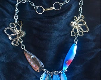 Blue Fishing Lure Necklace