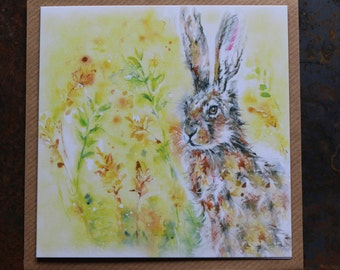 Hare in meadow orignal design greeting card. Blank for any occasion