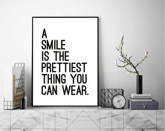 A Smile Print Quote, Modern Wall Art, Modern Art Print, Typography Poster,