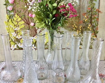 10 Vases Glass Vases Wedding Vases Centerpiece Vases Clear Glass Vases Vintage Wedding Bud Vases Wedding Centerpiece Vases Bulk Vases