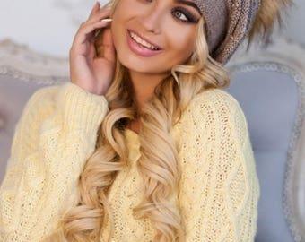 Beret hat-Slouchy beanie women-Fur pom pom hat-Accessoires tricotes-Slouchy hat-Slouchy beret hat-Beret-French beret-Knitted hat-Pom pom hat