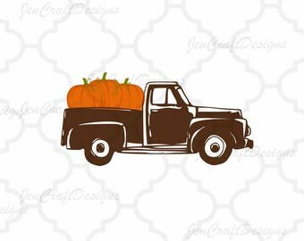 Antique Fall Pumpkins Truck SVG Vintage truck SVG classic truck svg cut File, DXF, eps, png for Silhouette, Cricut Digital Cut Files