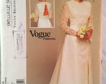 Vogue 1535 Wedding Dress Pattern Bridal Bellville Sassoon Vintage Sizes 18 - 22 Uncut