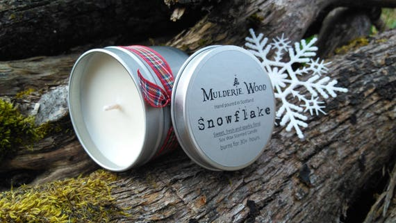 Hand Poured Snow Flake Scented CHRISTMAS Natural Soy Wax Tin Candle
