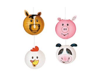 Farm Paper Lanterns - Barnyard Birthday Decorations, Barn Party, Cowboy Baby Shower, Western Party, Cow Party Lantern Banner Hanging Decor