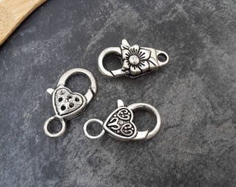 Set of 3 clasps, flower clasp and silver Metal heart