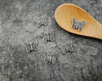 Butterfly, butterfly, ethnic butterfly, silver, Metal beads 10 x 8 mm spacer beads