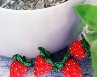 Summer outdoors Crochet strawberry(4) Crochet berries Pretend fruit Amigurumi strawberry Amigurumi berries Pretend food Play food strawberry