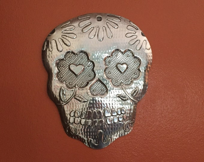Handcrafted Hammered Aluminum Calavera Wall Mask