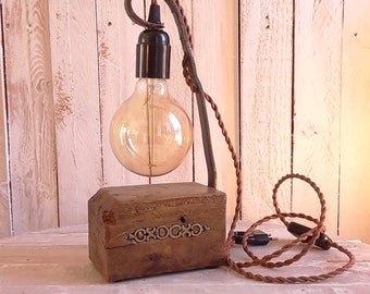 Light wood and metal-antique Upcycled kinfolk, steampunk, industrial, vintage-handmade - free shipping