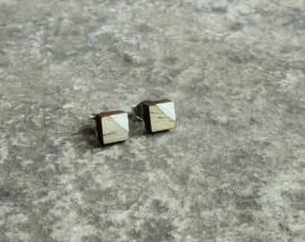 Painted Square Blue Pine Earrings