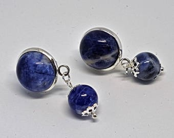 Sodalite gemstone dangle earrings with blue gemstones and beads