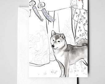 Shiba Inu Postcard, Japan,International Doggy Sumi-e Painting Print Illustration Asian Japanese Kimono Zen Art Cute Ink Drawing