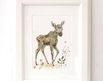 Moosie Nursery Art Print,  Moosie Nursery, Baby Moosie Print, Moose Deco, Woodland Nursery , Giclee ,Forest Animal, Picture for Baby, Moose