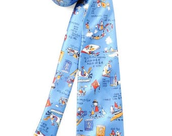 25%OFF Silk tie vintage Mens neckties vintage Accessories for men clothing blue necktie prints Hong Kong Handmade