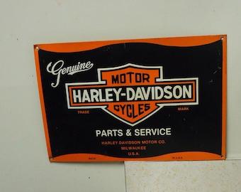 harley davidson tin sign,vintage motorcycle dealer service metal advertising,garage shop biker decoration.older reproduction