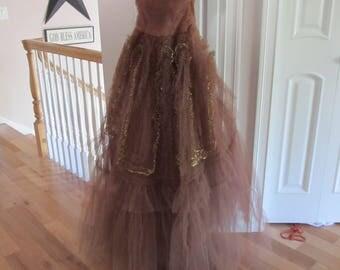 1950's Dusty Pink & Gold Jr. Prom Dress