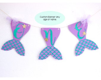 Custom Mermaid Banner, Mermaid Tail Banner, Aqua Scale Mermaid Banner, Under The Sea Banner, One Mermaid Banner, Mermaid Name Banner,