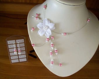 Bridal dress wedding party necklace and earrings Pink / White ceremony Christmas white satin flower