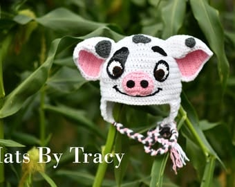 Pua the Pig, Moana Crochet Hat, Hei Hei the Chicken,  Inspired by the movie, Fall Hats