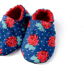 Baby Booties - Soft Sole Baby Shoes - Red and Blue Moccasins -  Baby Slippers - Crib Shoes - Baby Shower Gift - Rosie Posey Collection