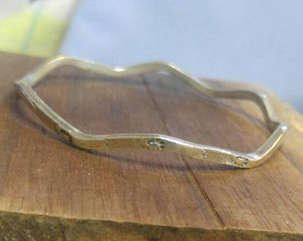 Taxco Sterling Silver Wavy 3 mm Bangle Bracelet