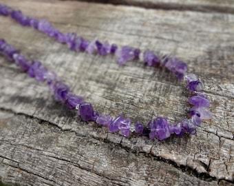 Natural Amethyst Chip and Swarovski Crystal Gemstone Necklace, Purple Gemstone Necklace