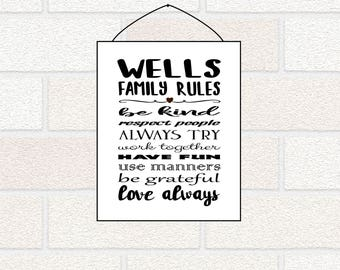 Personalized Family Rules Sign - Personalized Family Gift, Family Wall Art, House Rules, Family Print, Family Name Gift, Valentine Family