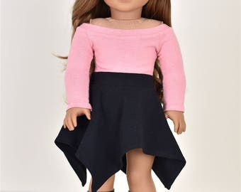 Boat Neck  Top 18 inch doll clothes Long Sleeve Color Dusty Rose