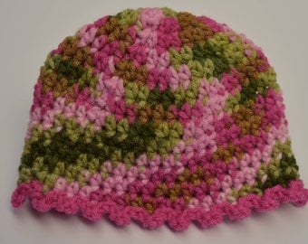 Baby Girl Camo Hat, Pink and Green Camo Hat, Baby Camo Beanie, Baby Camouflage, 0 to 3 month baby hat, Crochet Baby Camo Hat, Baby Camo