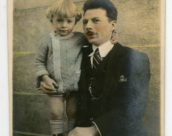 Vintage photo Father and Daughter hand tinted colored photo, children father and kid, infant little girl, man suit moustache, posing
