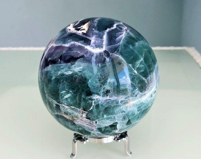 Large Crystal Ball, Rainbow Fluorite Crystal Ball, Gazing Sphere, Altar Tool, Home Decor