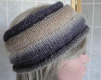 lilac/taupe headband, wool mix earwarmer, multicolor headband, ridged knit hairband, taupe mix headwarmer, lilac ear-warmer, great gift idea