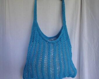stretch market bag, eco-friendly bag, turquoise knit shopper, mesh grocery bag, handy market bag, planet-saver shopper, folding bag, EtsyLds