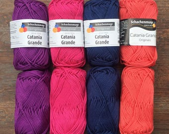 SMC Catania Grande Mercerized Cotton - Purple Pink Blue Coral - Worsted - 5.25 +1.10ea to Ship - Lasting Color, Sheen & Form MSRP 5.50