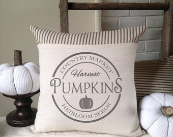 Pumpin, Pumkin Harvest Pillow, Pillow Cover, Autumn