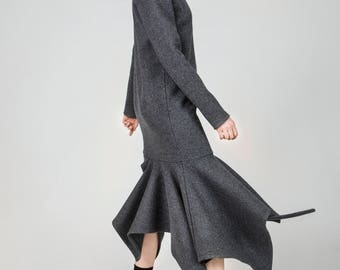 Madison Grey Polo Asymmetric Wool Dress by Other Theory, 18AW020