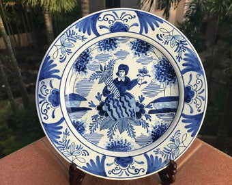 1800's Old Delft Plate Delfts Blauw Goddess Tyche Fortuna Corne d'abondance Schotel Chinois Wanli Style Dish Floral Schaal *Free S&H