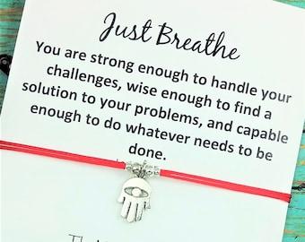 Hamsa Bracelet | Just Breathe Card | Friendship Bracelet | Best Friend  Hamsa Gift | Yoga Bracelet |  BFF Gift | Mindfulness Gift