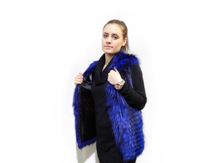 Blue Fox Fur Vest,Fashion Teenager,Real Fur Vest F384