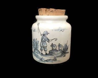 vintage french Moustiers ceramic mustard pot