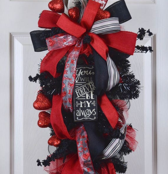 Forever Be My Always Black and Red Mesh Teardrop Swag with Glitter Hearts; Valentine Floral Door Decor Wreath; Glitter Heart Decor Wreath