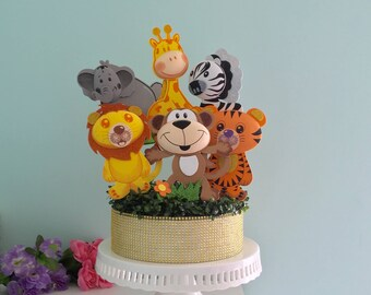 Set of 6 Safari Animals Foam Decorations for a Baby Shower, 3 different sizes, great jungle themed centerpieces