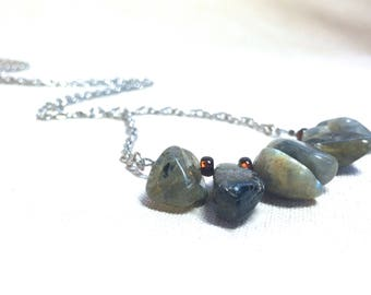 Natural Stone Necklace, neutral gray necklace grey long necklace green black agate necklace statement bohemian jewelry earthy boho chic